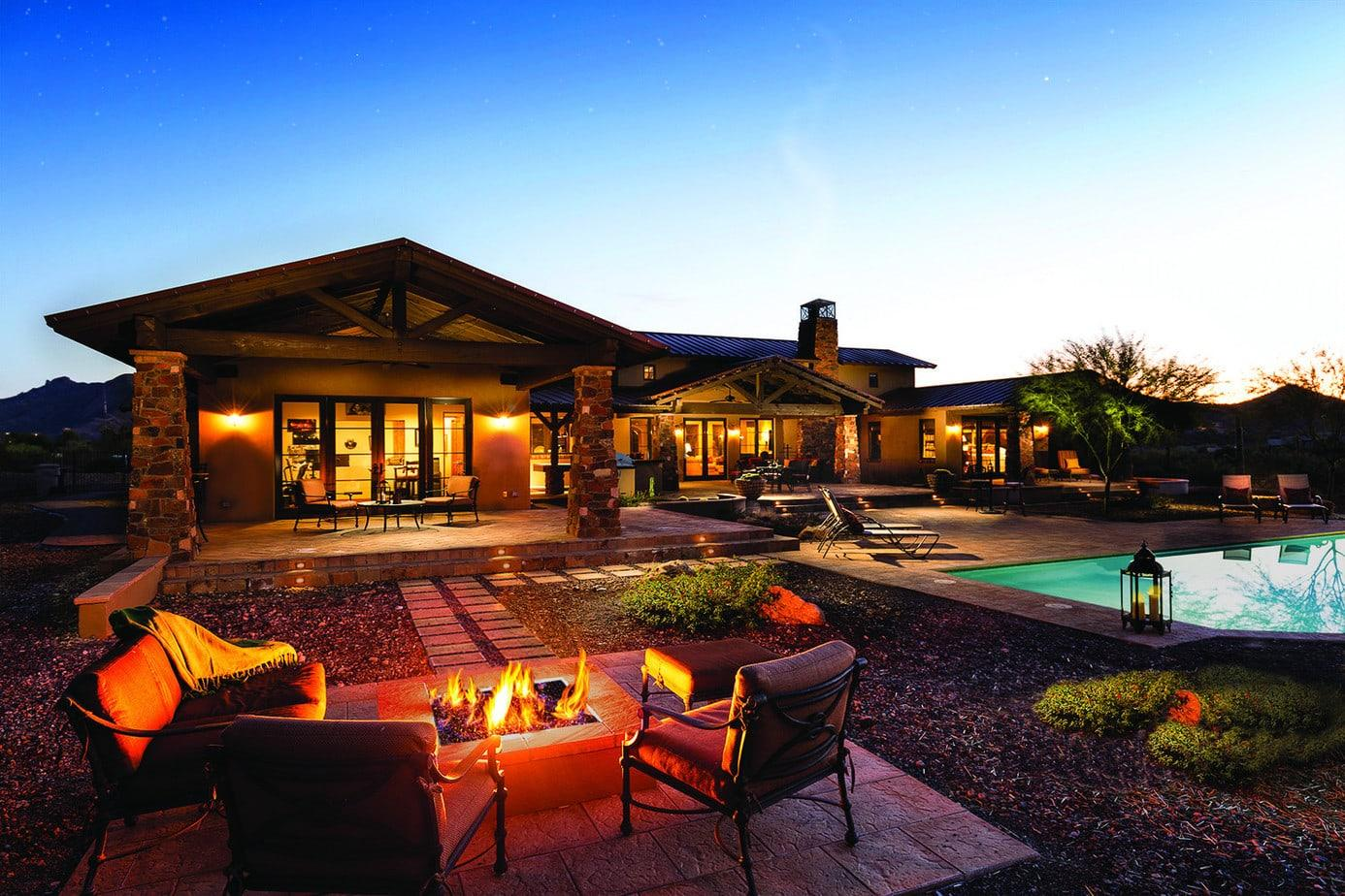 ranch house patio firepit pool